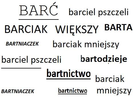 Bartnictwo, barć - słownik